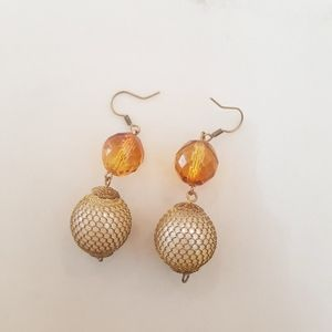 Amber Glass Bead Wire Netted Earrings
